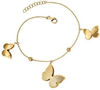Italian Gold Beads & Butterfly Dangle Bracelet14K, 5.0g