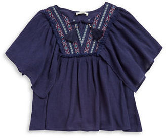 Jessica Simpson Girls 7-16 ?Crinkled Embroidered Top $39.50 thestylecure.com