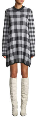 McQ Checkerboard Long-Sleeve Sweater Dress