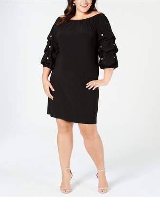 MSK Plus Size Off-The-Shoulder Volume-Sleeve Shift Dress