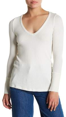 Chaser Button Cuff Waffle Knit Long Sleeve Tee