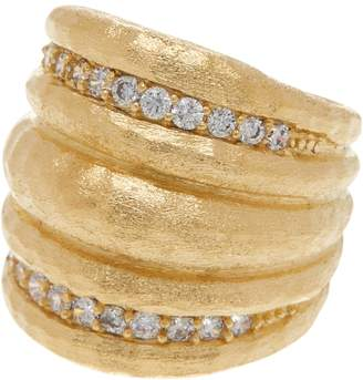 Rivka Friedman 18K Gold Clad Simulated Diamond Hammered Dome Ring