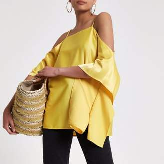 River Island Womens Yellow chain trim cold shoulder top