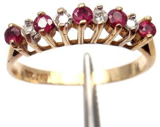 Estate 14K Yellow Gold 0.10 Ct Diamond Ruby Ring