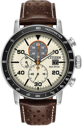 Citizen Eco-Drive Men Chronograph Brown Leather Strap Watch 44mm