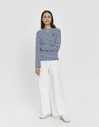 Comme des Garcons Play Striped Long Sleeve Tee in Navy