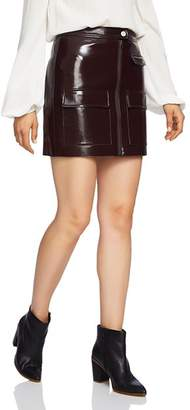 1 STATE 1.STATE Crackled Faux Patent Leather Skirt