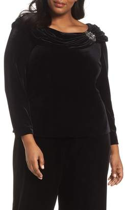 Alex Evenings Ruched Velvet Top