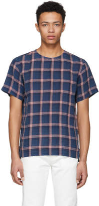 Schnaydermans Blue and Red Linen One Pocket T-Shirt