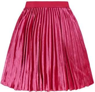 MonnaLisa Velvet Pleated Midi Skirt