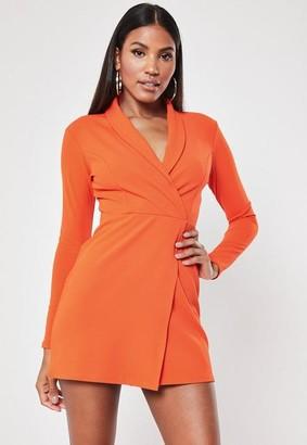 Missguided Petite Orange Long Sleeve Blazer Mini Dress, Orange