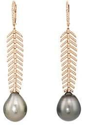 Samira 13 Women's Feather Drop Earrings-Black