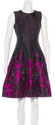 Carmen Marc Valvo Sleeveless Printed Dress