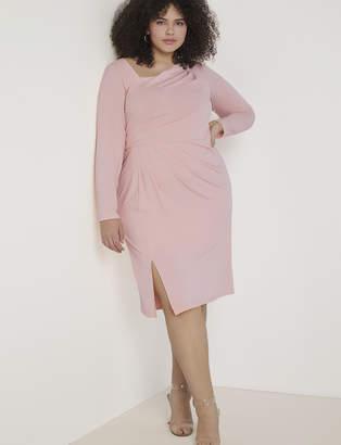 Draped Front Long Sleeve Sheath Dress