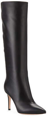 Gianvito Rossi Point-Toe Leather Mid-Calf Boots