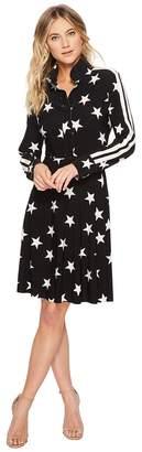 KAMALIKULTURE by Norma Kamali Side Stripe Shirt Flared Dress To Knee Women's Dress