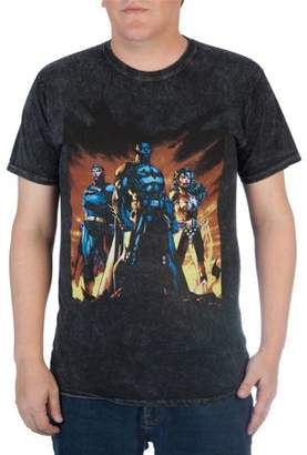 Justice Super Heroes & Villains DC Comics Big Men's League Black Mineral Washed Graphic T-shirt, 2XL