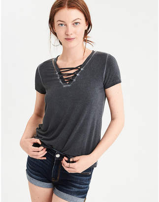 American Eagle AE Soft & Sexy Knit Lace Up Tee