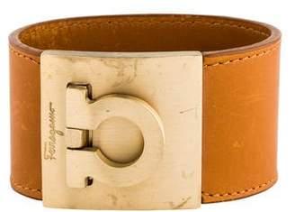 Salvatore Ferragamo Wide Gancio Leather Bracelet