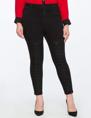 ELOQUII Lace up Skinny Jeans