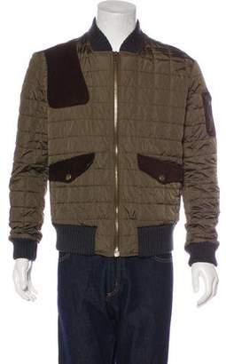 Gucci Suede-Trimmed Quilted Bomber Jacket