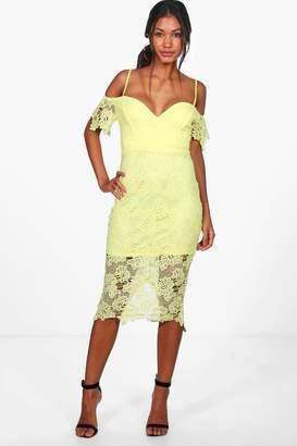 boohoo Boutique Mallory Corded Lace Midi Dress