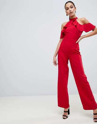 Lipsy Halter Neck Jumpsuit with Ruffle Detail