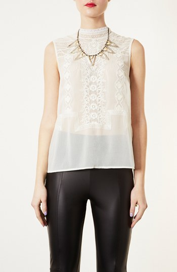 Topshop Embroidered High Neck Top Cream 10
