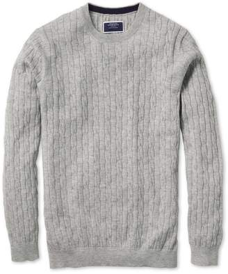Charles Tyrwhitt Light Grey Crew Neck Lambswool Cable Knit Sweater Size XXL
