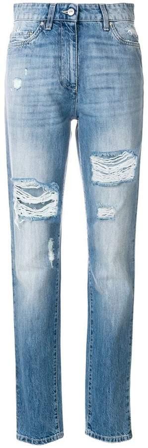 distressed denim trousers
