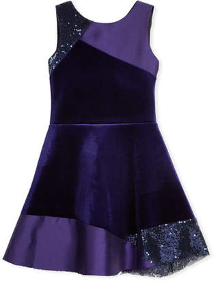 Zoe Velvet Colorblock Sleeveless Dress, Size 4-6X