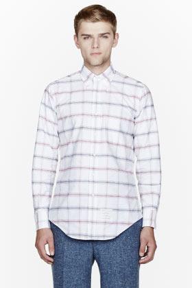 Thom Browne Red oxford plaid classic shirt