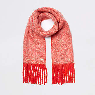 River Island Womens Red marl fluffy scarf