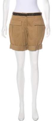 Haute Hippie Leather-Trimmed Knee-Length Skirt