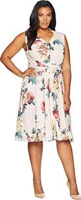 767d26c17789 Tahari by Arthur S. Levine Women's Plus Size Floral GGT Self Tie Dress