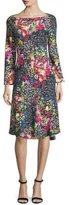 Etro Mini Floral-Print Boat-Neck Dress