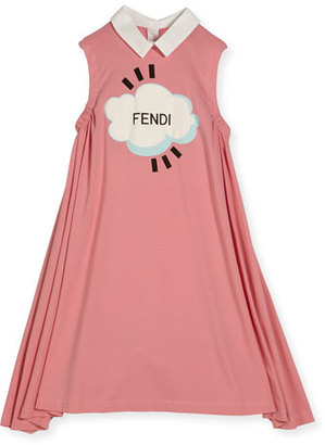 Fendi Sleeveless Collared Logo Swing Dress, Pink, Size 10-12 $290 thestylecure.com