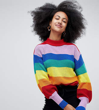 Monki Crew Neck Rainbow Sweater