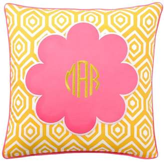 Pottery Barn Teen Mix &amp Match Daisy Monogram Pillow Cover, Bright Pink Center/Lavender Ground