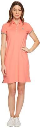 U.S. Polo Assn. Stretch Pique Color Tipped Logo Polo Dress Women's Dress