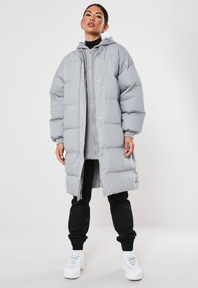 Missguided Gray Long Hooded Puffer Coat