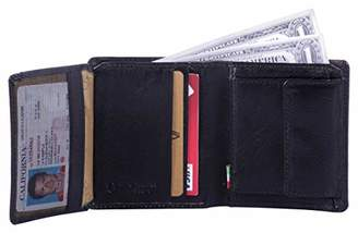 Leather Architect -Men's Real Italian Leather Trifold Wallet with COIN Pocket and RFID blocking-