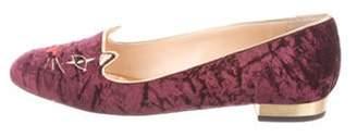 Charlotte Olympia Velvet Kitty Loafers gold Velvet Kitty Loafers