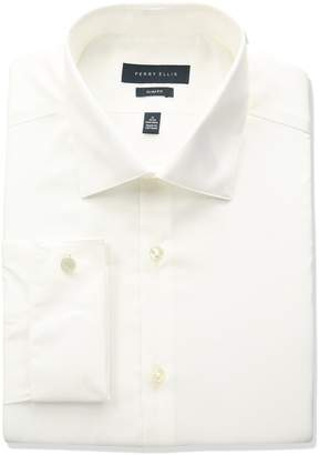 "Perry Ellis Collection Men's Slim Fit Solid Non-Iron Dress Shirt with French Cuff, White, 15.5"" Neck 34""-35"" Sleeve"
