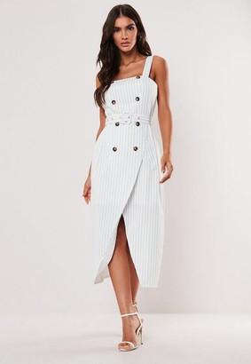 Missguided White Stripe Horn Button Midi Dress