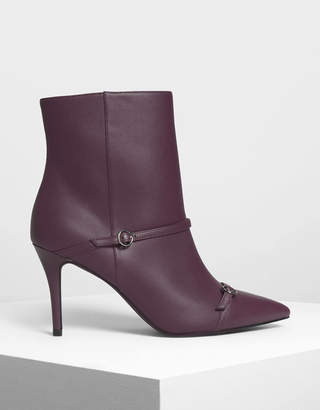 Charles & Keith Double Strap Detail Pointed Boots