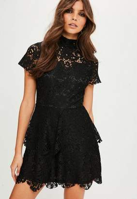 Missguided Black short sleeve double layer skater dress, Black