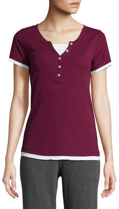 ST. JOHN'S BAY SJB ACTIVE Active Short Sleeve Y Neck T-Shirt-Womens