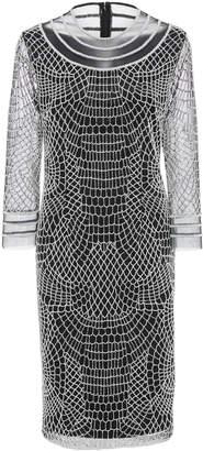 Joanna Mastroianni 3/4 Sleeve Web Embroidered Dress