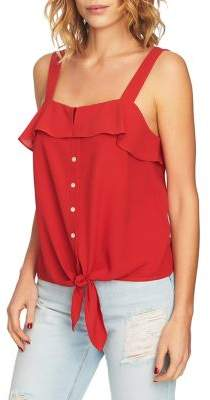 1 STATE 1.STATE Tie-Front Ruffled Tank Top